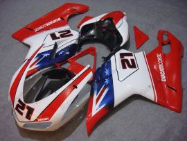 Ducati 848 / 1098 / 1198 2007-2009 Carénage ABS Injection - Xerox - rouge/blanc
