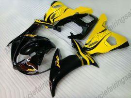 Yamaha YZF-R6 2005 Carénage ABS Injection - Flame noir - noir/jaune
