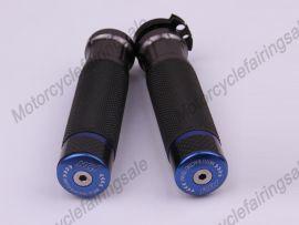 """moto universelle 22mm 7/8"""" couple traiter bar poignées bleu carbone tissu matériel"""