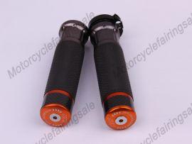 """moto universelle 22mm 7/8"""" couple traiter bar poignées orange carbone tissu matériel"""