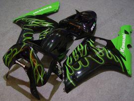 Kawasaki NINJA ZX6R 2003-2004 Carénage ABS Injection - Flame vert - noir