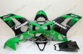 Kawasaki NINJA ZX6R 2003-2004 Carénage ABS Injection - Monster - vert/noir