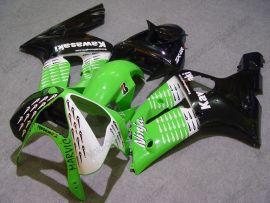 Kawasaki NINJA ZX6R 2003-2004 Carénage ABS Injection - Nakano - vert/noir/blanc
