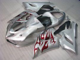 Kawasaki NINJA ZX6R 2005-2006 Carénage ABS Injection - Flame rouge - argent