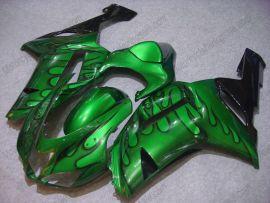 Kawasaki NINJA ZX6R 2007-2008 Carénage ABS Injection - Flame noir - vert