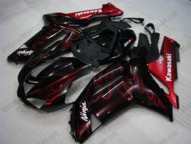 Kawasaki NINJA ZX6R 2007-2008 Carénage ABS Injection - Flame rouge - noir
