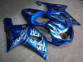 Suzuki GSX-R 600/750 2001-2003 K1 K2 Carénage ABS Injection - Flame blanc - bleu