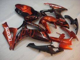 Suzuki GSX-R 600/750 2006-2007 K6 Carénage ABS Injection - Flame orange - noir