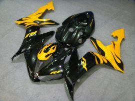 Yamaha YZF-R1 2004-2006 Carénage ABS Injection - Flame noir - noir/jaune