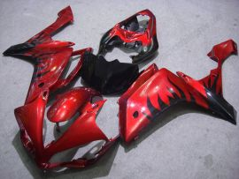 Yamaha YZF-R1 2007-2008 Carénage ABS Injection - Flame noir - rouge