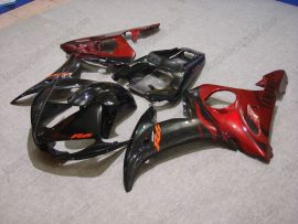 Yamaha YZF-R6 2003-2004 Carénage ABS Injection - Flame noir - noir/rouge