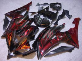 Yamaha YZF-R6 2008-2014 Carénage ABS Injection - Flame rouge - noir/rouge